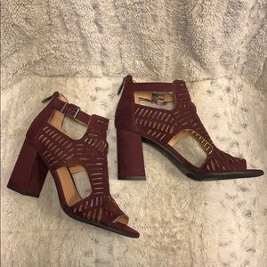 Franco Sarto Burgundy Suede Cut Out Bootie